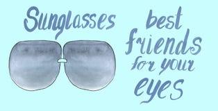 Τα γυαλιά ηλίου είναι καλύτεροι φίλοι για τα μάτια σας διανυσματική απεικόνιση