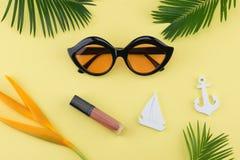 Τα γυαλιά ηλίου και το χείλι σχολιάζουν Στοκ Εικόνες