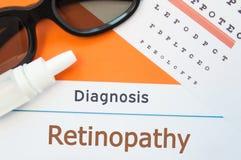 Τα γυαλιά, οι πτώσεις ματιών και το διάγραμμα δοκιμής ματιών είναι γύρω από τη νεφροπάθεια διαγνώσεων επιγραφής Φωτογραφία έννοια Στοκ Φωτογραφίες