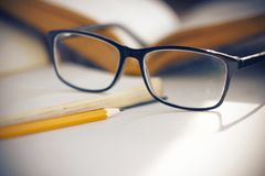 Τα γυαλιά στα κομψά μαύρα πλαίσια φωτίζουν το φως του ήλιου στοκ εικόνες