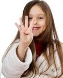 τα δάχτυλα τέσσερα κορίτσι εμφανίζουν Στοκ Εικόνες