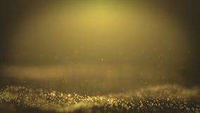 Τα δημοφιλή αφηρημένα αστέρια μορίων σκόνης υποβάθρου λάμποντας χρυσά προκαλούν την τρισδιάστατη ζωτικότητα 4k βρόχων κυμάτων ελεύθερη απεικόνιση δικαιώματος