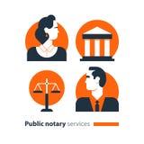 Τα δημόσια εικονίδια υπηρεσιών συμβολαιογράφων καθορισμένα, νόμος που η σταθερή υπεράσπιση ατόμων συμβουλεύεται το έγγραφο πιστοπ Στοκ φωτογραφία με δικαίωμα ελεύθερης χρήσης