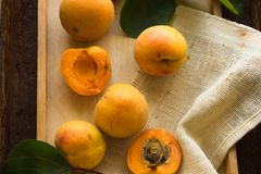 Τα διάφορα φρέσκα ώριμα βερίκοκα στην ξύλινη επιφάνεια αφήνουν τα βερίκοκα φρούτων στα κομμένα βερίκοκα στο μισό Ανοικτό μπλε αγρ Στοκ Εικόνες