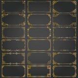 Τα διακοσμητικά πλαίσια και τα σύνορα ορθογωνίων καθορισμένα το διανυσματικό χρυσό Στοκ φωτογραφίες με δικαίωμα ελεύθερης χρήσης