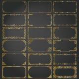 Τα διακοσμητικά πλαίσια και τα σύνορα ορθογωνίων καθορισμένα το διανυσματικό χρυσό Στοκ Εικόνες