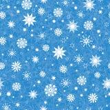 Τα διανυσματικά βασιλικά μπλε συρμένα χέρι christmass snowflakes αστέρια επαναλαμβάνουν το άνευ ραφής υπόβαθρο σχεδίων Μπορέστε ν Στοκ φωτογραφία με δικαίωμα ελεύθερης χρήσης