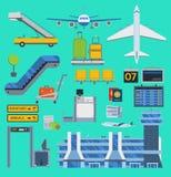 Τα διανυσματικά εικονίδια αερολιμένων αεροπορίας θέτουν στην αερογραμμή ταξιδιού τη γραφική απεικόνιση τελικός αερολιμένας συμβόλ απεικόνιση αποθεμάτων