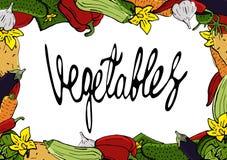 Τα διανυσματικά εικονίδια των λαχανικών, που εγκαθίστανται σε ένα ύφος κινούμενων σχεδίων, είναι διπλωμένα σε ένα τετραγωνικό πλα Στοκ φωτογραφία με δικαίωμα ελεύθερης χρήσης