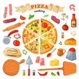 Τα διανυσματικά ιταλικά τρόφιμα πιτσών με το τυρί και η ντομάτα στο σύνολο pizzeria ή pizzahouse απεικόνισης ψημένης πίτας από Στοκ Εικόνες