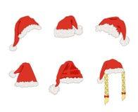Τα διανυσματικά καπέλα Santa κινούμενων σχεδίων, στοιχείο σχεδίου Χριστουγέννων, θέτουν απομονωμένος απεικόνιση αποθεμάτων