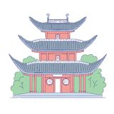 Τα διανυσματικά κινέζικα που χτίζουν το αρχιτεκτονικό ορόσημο Ασιατικός παραδοσιακός ιστορικός εθνικός τέχνης γραμμών αρχιτεκτονι ελεύθερη απεικόνιση δικαιώματος