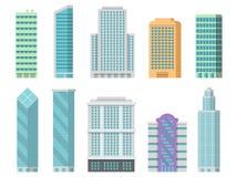 Τα διανυσματικά κτίρια γραφείων απομονώνουν στο λευκό Απεικονίσεις των σύγχρονων ουρανοξυστών απεικόνιση αποθεμάτων