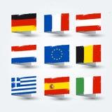 Τα διανυσματικά κτυπήματα βουρτσών απεικόνισης ζωηρόχρωμα χρωμάτισαν τον κόσμο, ευρωπαϊκά εικονίδια σύστασης σημαιών χωρών καθορι ελεύθερη απεικόνιση δικαιώματος