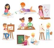 Τα διανυσματικά παιδιά παιδιών καλλιτεχνών που χρωματίζουν κάνοντας την τέχνη το δημιουργικό νέο καλλιτέχνη με τις βούρτσες και τ ελεύθερη απεικόνιση δικαιώματος