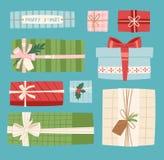 Τα διανυσματικά παρόντα Χριστούγεννα πακέτων κιβωτίων δώρων ή ο επίπεδος εορτασμός απεικόνισης γενεθλίων giftbox υποκύπτουν το αν διανυσματική απεικόνιση
