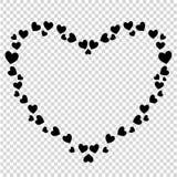 Τα διανυσματικά χαριτωμένα μαύρα διαμορφωμένα καρδιά σύνορα για το βαλεντίνο, αγαπούν το ρωμανικό σχέδιο ελεύθερη απεικόνιση δικαιώματος