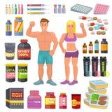 Τα διανυσματικά bodybuilders αθλητικών τροφίμων Bodybuilding συμπληρώνουν τη δύναμη proteine και τη διατροφή διατροφής ικανότητας ελεύθερη απεικόνιση δικαιώματος