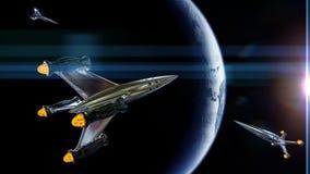 Τα διαστημόπλοια στην τροχιά του πλανήτη Γη, τρισδιάστατη απεικόνιση κυκλοφορίας πυραύλων, στοιχεία αυτής της εικόνας εφοδιάζοντα Στοκ Εικόνες