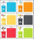 Τα διαφορετικά εικονίδια αποβλήτων επάνω από τα δοχεία απορριμμάτων χρωματίζουν τις κάρτες διανυσματική απεικόνιση