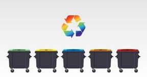 Τα διαφορετικά χρώματα ανακυκλώνουν τα δοχεία που απομονώνονται στο άσπρο υπόβαθρο Επίπεδο ύφος διάνυσμα Στοκ Φωτογραφίες