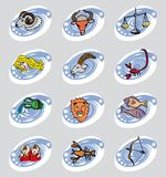Τα δώδεκα σημάδια Zodiac στο ύφος κινούμενων σχεδίων διανυσματική απεικόνιση