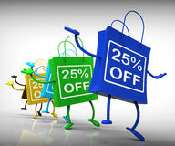 Τα είκοσι πέντε τοις εκατό από τις τσάντες παρουσιάζουν 25 εκπτώσεις Στοκ Εικόνες