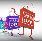 Τα είκοσι πέντε τοις εκατό από τις τσάντες παρουσιάζουν 25 πωλήσεις Στοκ φωτογραφία με δικαίωμα ελεύθερης χρήσης