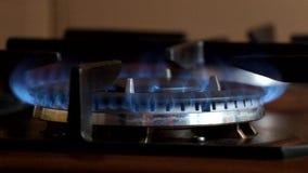 Τα εγκαύματα καυστήρων αερίου με μια μπλε φλόγα και εξαφανίζουν αργά απόθεμα βίντεο