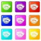 Τα εικονίδια ανύψωσης βλέφαρων θέτουν τη συλλογή 9 χρώματος απεικόνιση αποθεμάτων
