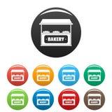 Τα εικονίδια αρτοποιείων καθορισμένα το διάνυσμα χρώματος Στοκ Εικόνες