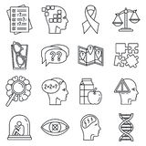 Τα εικονίδια ασθενειών γήρανσης Alzheimer καθορισμένα, περιγράφουν το ύφος ελεύθερη απεικόνιση δικαιώματος