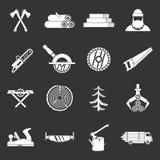 Τα εικονίδια βιομηχανίας ξυλείας καθορισμένα το γκρίζο διάνυσμα ελεύθερη απεικόνιση δικαιώματος