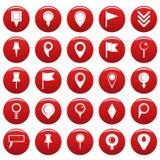 Τα εικονίδια δεικτών χαρτών καθορισμένα το κόκκινο vetor απεικόνιση αποθεμάτων