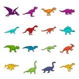 Τα εικονίδια δεινοσαύρων doodle θέτουν ελεύθερη απεικόνιση δικαιώματος