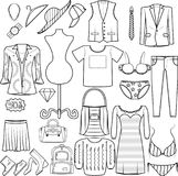Τα εικονίδια διαμορφώνουν τους καθορισμένους άνδρες και τις γυναίκες που ντύνουν την κατηγορία προϊόντων καπέλων ΚΑΠ πουκάμισων π απεικόνιση αποθεμάτων