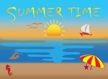 Τα εικονίδια θερινού χρόνου, το ηλιοβασίλεμα και πετώντας seagulls στην παραλία για το λογότυπο σχεδιάζουν την απεικόνιση απεικόνιση αποθεμάτων
