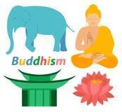 Τα εικονίδια θρησκείας βουδισμού Lotus του Βούδα ελεφάντων τυπώνουν σχεδίων σκιαγραφιών ζωηρόχρωμο επίπεδο σχέδιο απεικόνισης περ απεικόνιση αποθεμάτων