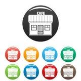 Τα εικονίδια καφέδων καθορισμένα το διάνυσμα χρώματος Στοκ Φωτογραφίες