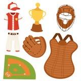 Τα εικονίδια κινούμενων σχεδίων παιχνιδιού σόφτμπολ συμβόλων ομάδων παιχνιδιών αθλητικού ανταγωνισμού μπέιζ-μπώλ σχεδιάζουν την α Στοκ Εικόνα