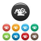 Τα εικονίδια κουδουνιών καπέλων χιούμορ καθορισμένα το χρώμα διανυσματική απεικόνιση