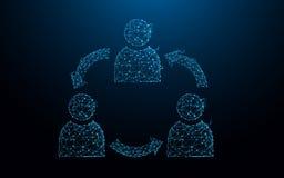 Τα εικονίδια ομάδας χρηστών διαμορφώνουν τις γραμμές, τα τρίγωνα και το σχέδιο ύφους μορίων Στοκ εικόνες με δικαίωμα ελεύθερης χρήσης