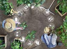 Τα εικονίδια, ο άνδρας και η γυναίκα εξοπλισμού κηπουρικής λειτουργούν μαζί στο φυτικό κήπο, τοποθετούν εγκαταστάσεις στο έδαφος, στοκ φωτογραφία με δικαίωμα ελεύθερης χρήσης