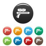 Τα εικονίδια πιστολιών πυροβόλων όπλων νερού καθορισμένα το χρώμα απεικόνιση αποθεμάτων