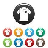 Τα εικονίδια πουκάμισων πόλο μπόουλινγκ καθορισμένα το χρώμα ελεύθερη απεικόνιση δικαιώματος