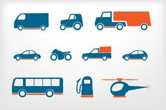 Τα εικονίδια που τίθενται τα οχήματα ελεύθερη απεικόνιση δικαιώματος