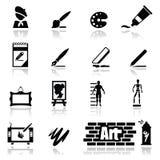 Τα εικονίδια που τίθενται τις τέχνες Στοκ εικόνα με δικαίωμα ελεύθερης χρήσης