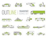 τα εικονίδια που τίθεντ&alpha Μεταφορά αυτοκινήτων και οχημάτων πόλεων Αυτοκίνητο, σκάφος, αεροπλάνο, τραίνο, μοτοσικλέτα, ελικόπ Στοκ φωτογραφίες με δικαίωμα ελεύθερης χρήσης