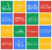 τα εικονίδια που τίθεντ&alpha Μεταφορά αυτοκινήτων και οχημάτων πόλεων Αυτοκίνητο, σκάφος, αεροπλάνο, τραίνο, μοτοσικλέτα, ελικόπ Στοκ εικόνες με δικαίωμα ελεύθερης χρήσης