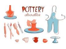 Τα εικονίδια στούντιο εργαστηρίων αγγειοπλαστικής αργίλου καθορισμένα doodle το ύφος Απεικόνιση αποθεμάτων